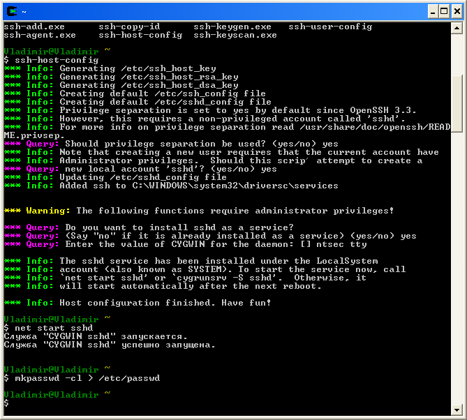 Cygwin commands