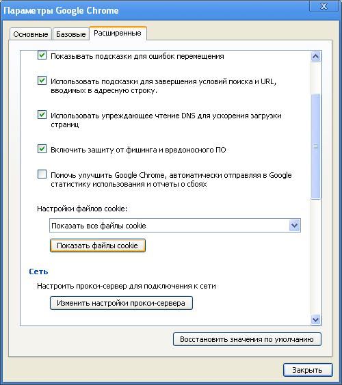 расширенные параметры Google Chrome